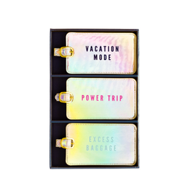 iridescent power trip luggage tag set of 3