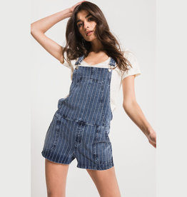 z supply the stripe knit denim short overall