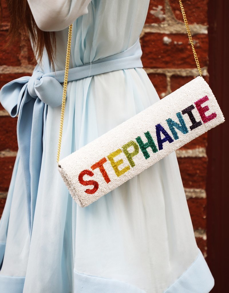 large structured personalized beaded clutch