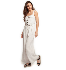 wide strap button front jumpsuit