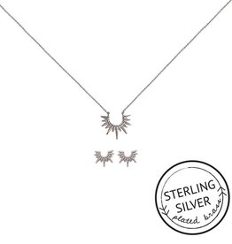 born to shine silver necklace & earring set