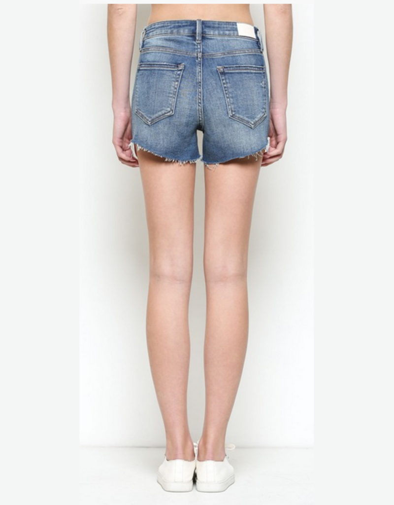 medium wash frayed shorts