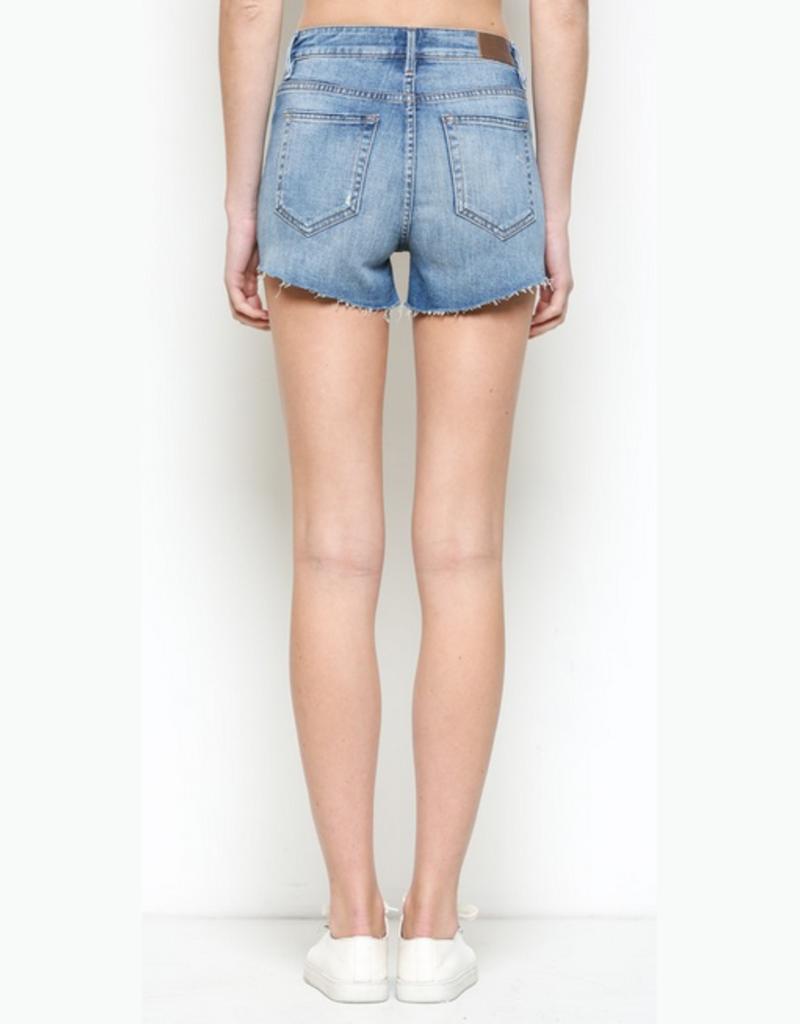medium wash distressed shorts w/ cut off hem