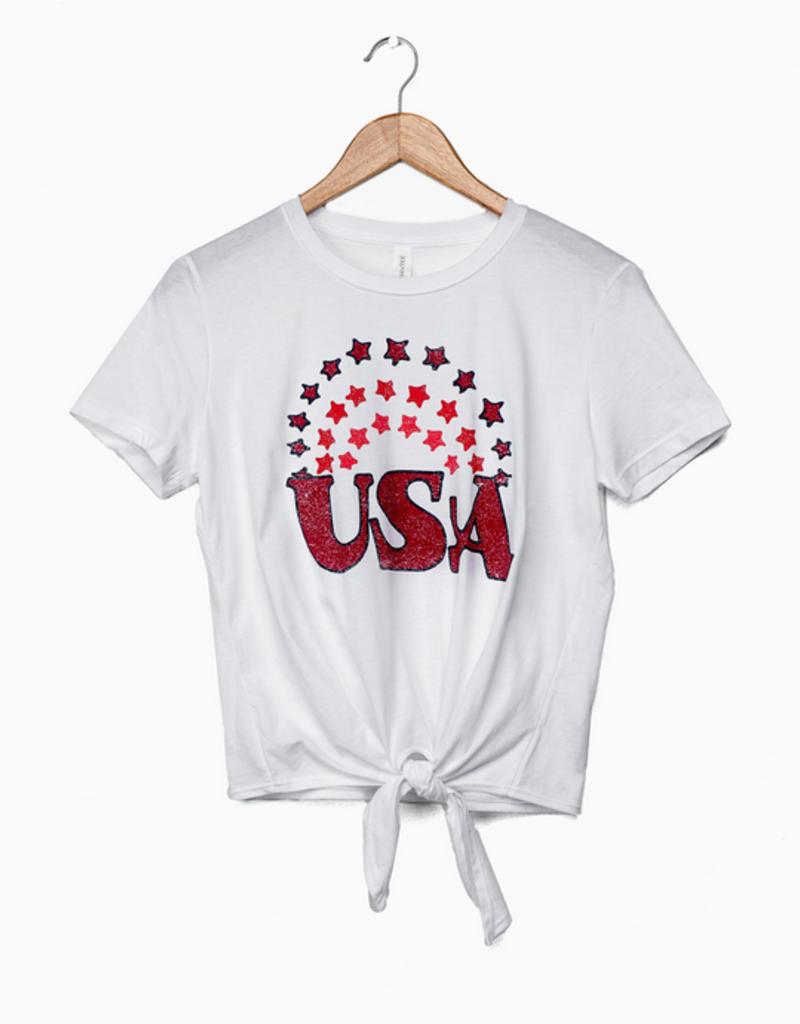 LivyLu USA rainbow stars tie front tee