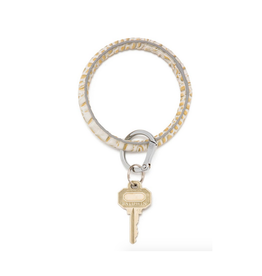 luxe croc embossed big O key ring- gold rush