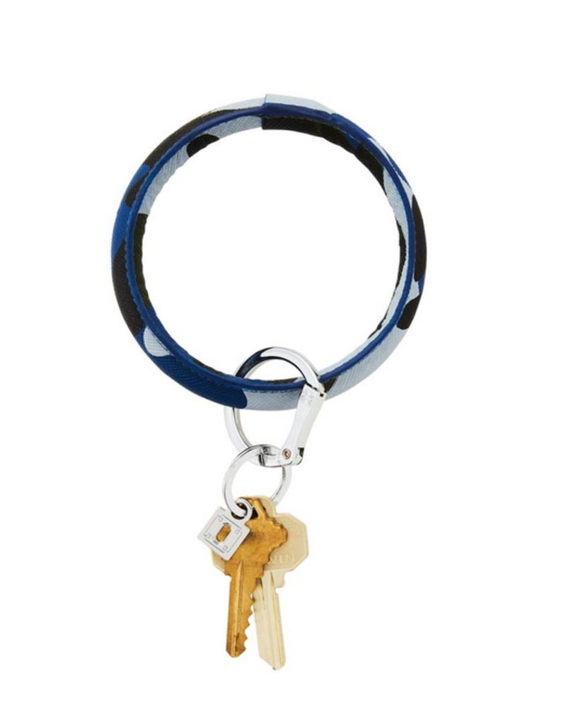 o venture luxe leather big O key ring- blue camo