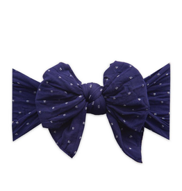 Baby Bling dang enormous bow headband- navy dot