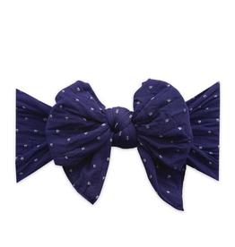 Baby Bling dang enormous bow headband- navy dot