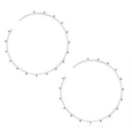 silver large enamel bubble circle hoop earrings