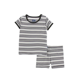 kickee pants india pure stripe print short sleeve pajama set with shorts