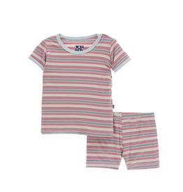 kickee pants india dawn stripe print short sleeve pajama set with shorts
