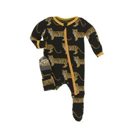 kickee pants zebra tiger print footie with zipper