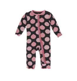 kickee pants zebra pomegranate muffin ruffle coverall with zipper