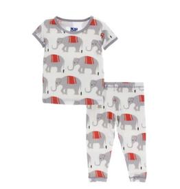 kickee pants natural indian elephant print short sleeve pajama set