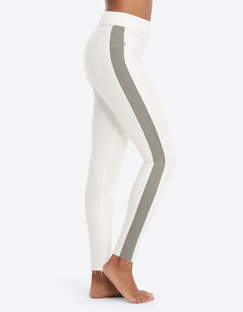 spanx distressed skinny jeans with side stripe