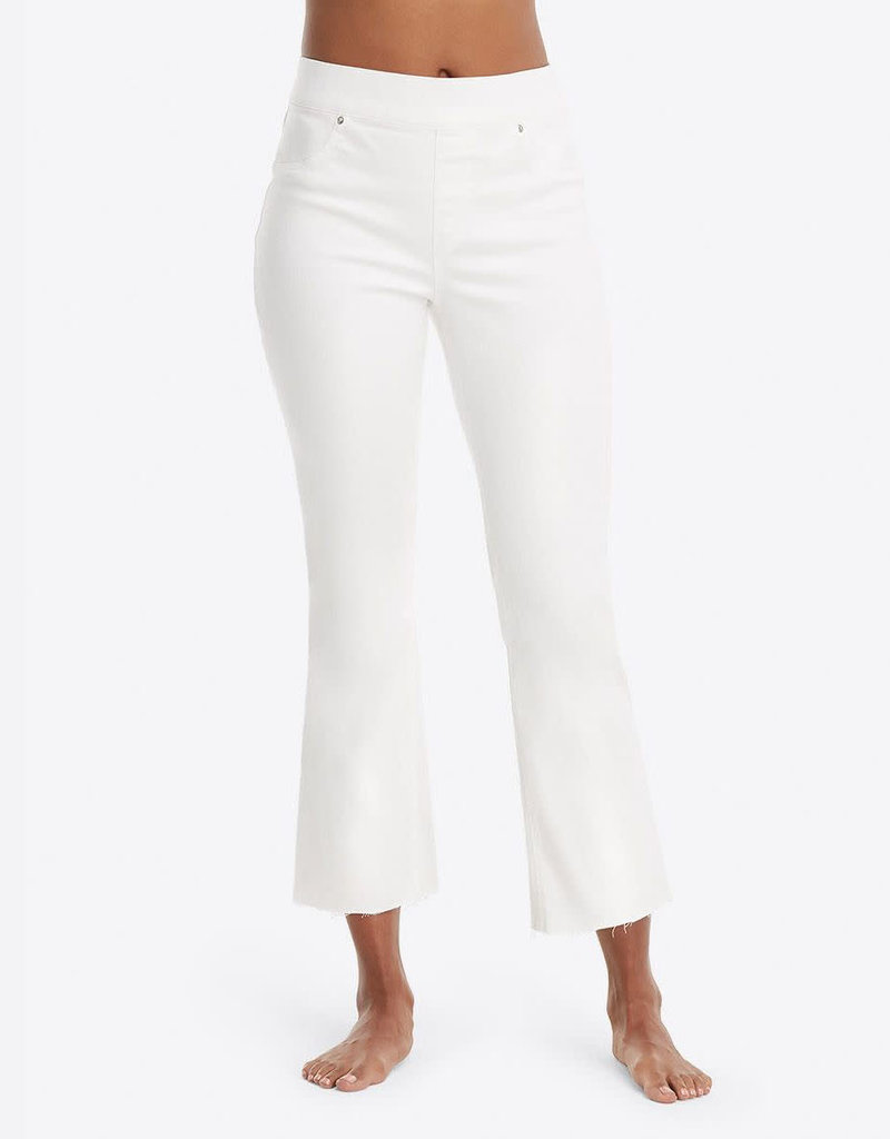 spanx cropped flare white denim