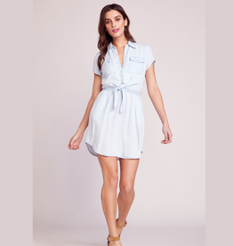 chambray you stay tie front dress