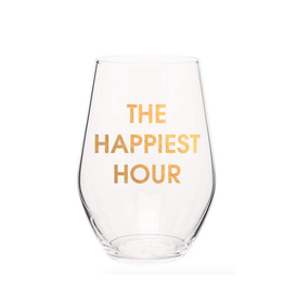 chez gagne the happiest hour gold foil wine glass