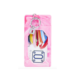 tickled pink marble silicone id case