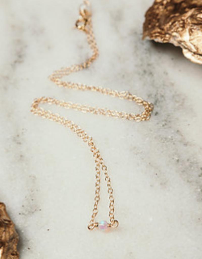 rory ashton fuschia dainty opal necklace