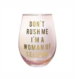 slant wine dont rush me 20oz stemless wine glass