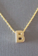 gold block letter initial necklace