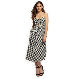 dex midi sundress with self tie front in gingham FINAL SALE