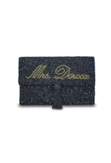 half fold over personalized beaded clutch
