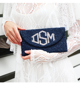 half moon personalized beaded clutch