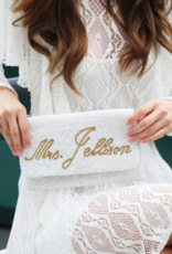 large fold over personalized beaded clutch