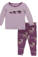 kickee pants amethyst kosmoceratops family long sleeve pajama set