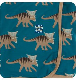 kickee pants heritage blue kosmoceratops swaddling blanket