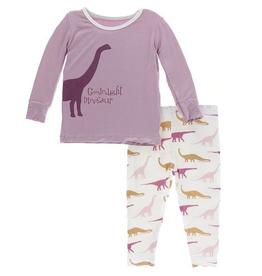 kickee pants natural goodnight dinosaur long sleeve pajama set