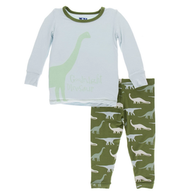 kickee pants moss goodnight dinosaur long sleeve pajama set