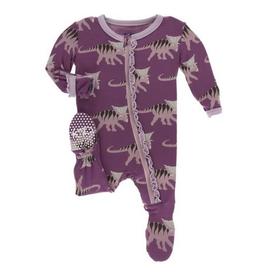 kickee pants amethyst kosmoceratops muffin ruffle footie with zipper