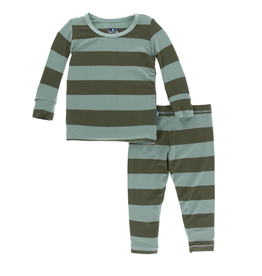 kickee pants paleontology fauna stripe long sleeve pajama set