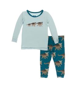 kickee pants heritage blue kosmoceratops family long sleeve pajama set