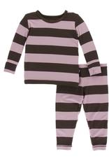 kickee pants paleontology flora stripe long sleeve pajama set
