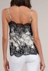 snake print lace cami