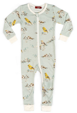 milkbarn bamboo zip pajamas blue birds