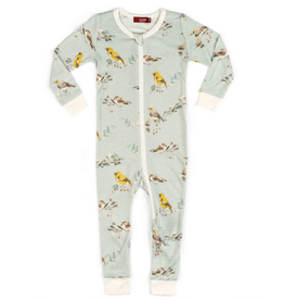 milkbarn bamboo zip pajamas blue birds