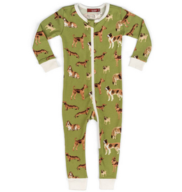 milkbarn organic zip pajamas green dog