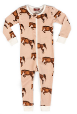 milkbarn organic zip pajamas horse