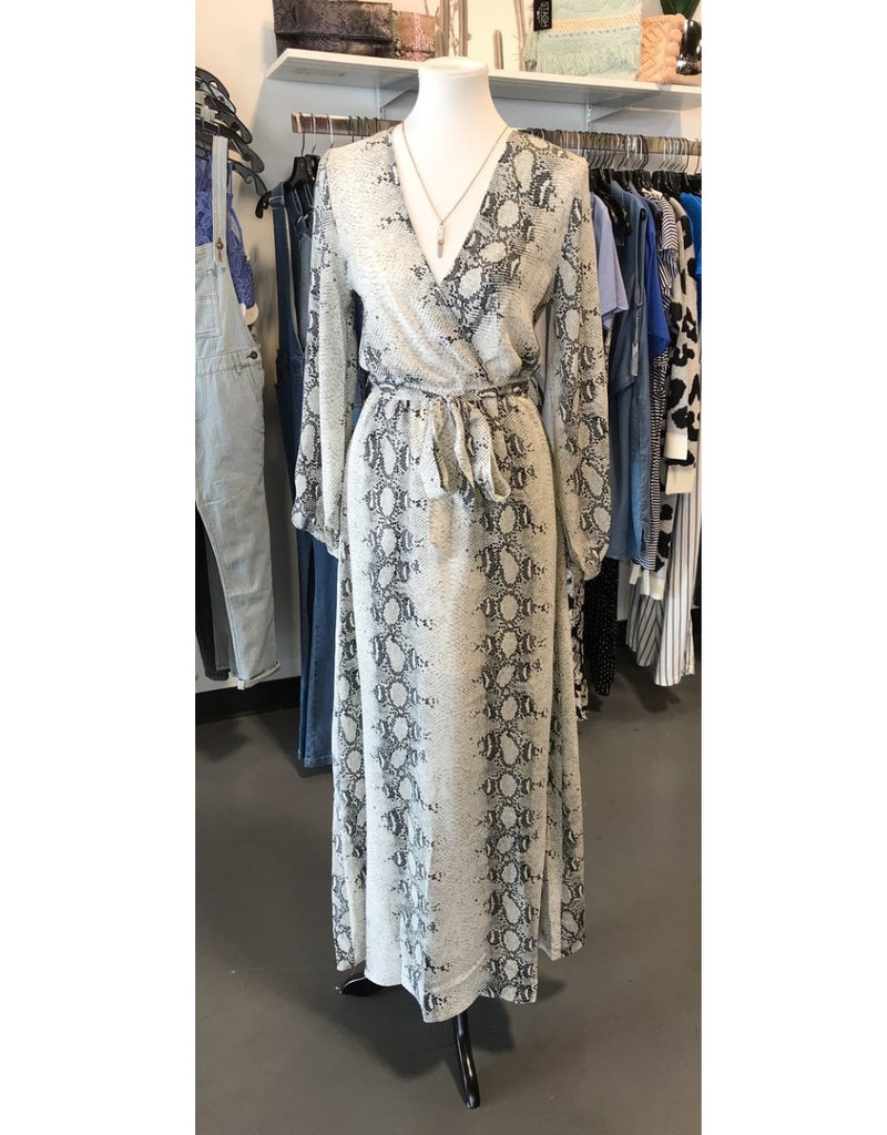 long sleeve snake print maxi