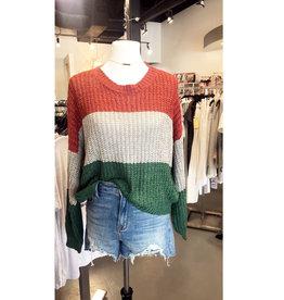 tri stripe bubble sleeve sweater
