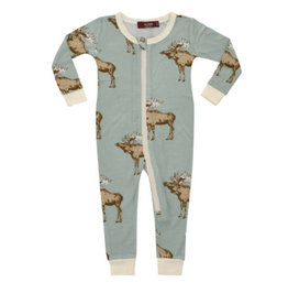 milkbarn blue moose bamboo zip pjs