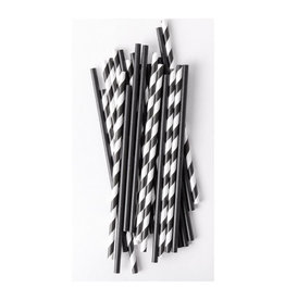 black mix premium paper straws