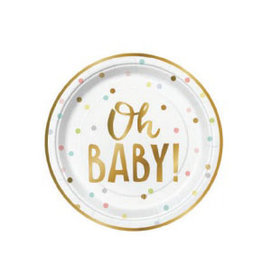 "oh baby confetti 7"" paper plates 8ct"