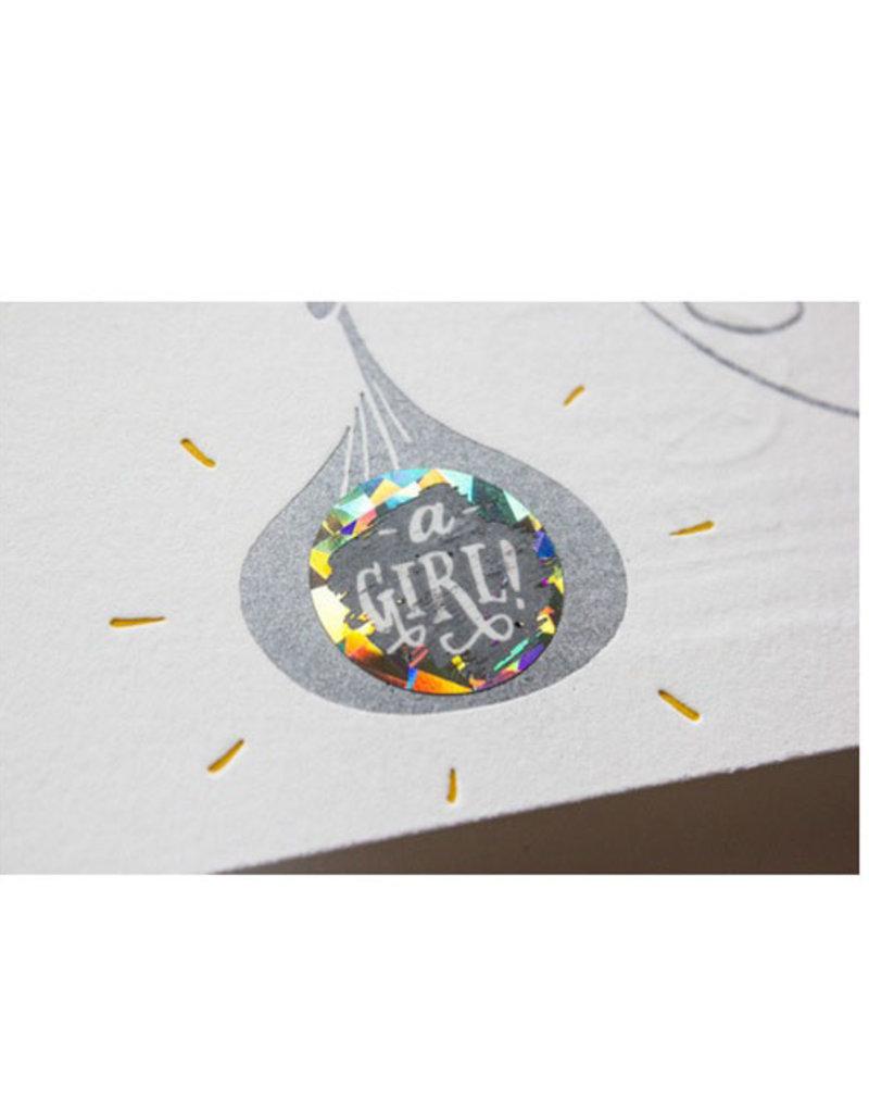 scratch off gender reveal card - girl