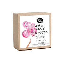 pink marble party balloons (set of 8)
